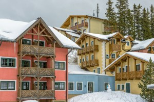 Hotel on ski resort in austrian Alps